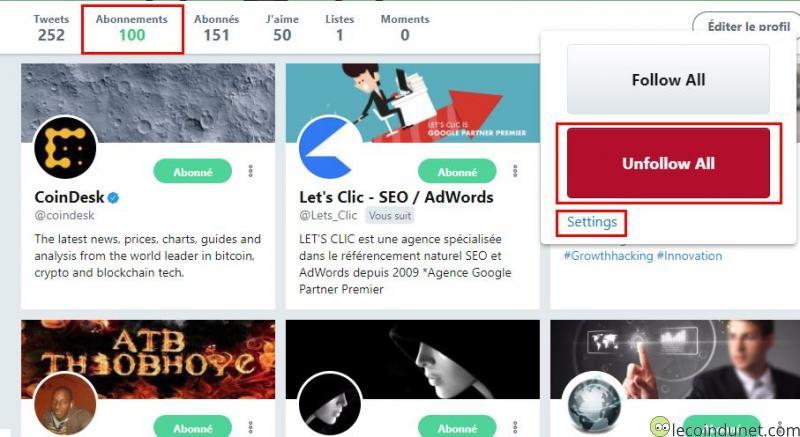Twitter - Mass follow for twitter unfollow all