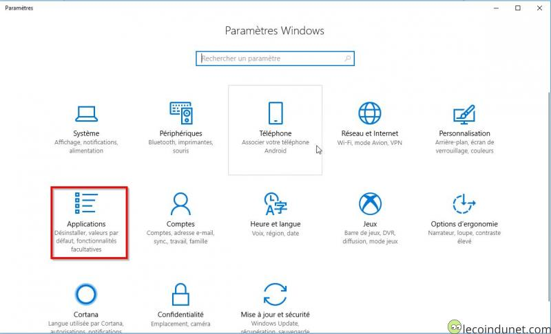 Windows 10 - Paramètres - Applications
