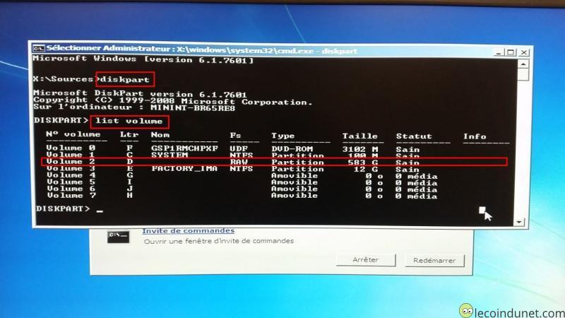 Windows 7 - Diag réparation avec Diskpart