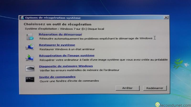 R parer windows 7 gr ce aux outils de r cup ration for Fenetre windows outils